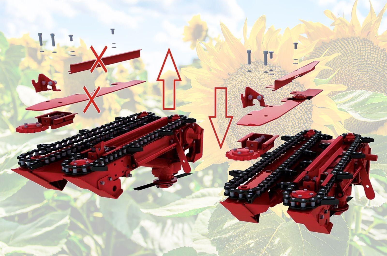 Подсолнечниковая жатка позволяет сохранить в среднем 5-7 ц/га урожая